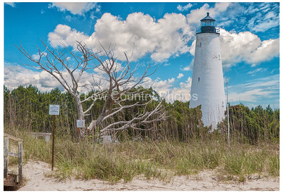 The Georgetown lighthouse sits at the mouth of Winyah Bay leading in to  Georgetown ten miles away. This is the oldest active lighthouse in South Carolina and stands 87 feet tall. This lighthouse can only be reached by boat. The Watermark will not show on printed images