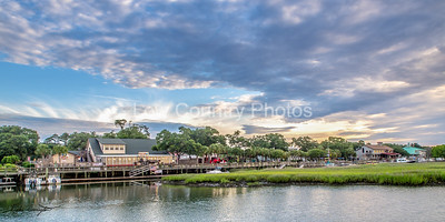 """Restaurant Row as viewed from the water looking back at the Dead Dog Saloon a few days before it burned. Murrels Inlet, SC - Commonly called """"Restaurant Row"""" by locals as well as tourists. The Watermark will not show on printed images"""