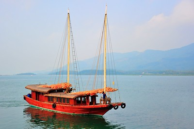 A sailing junk, Quan Lan Island, Vietnam