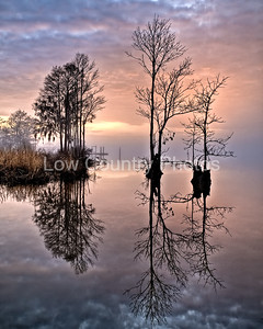 """""""Peace on the River"""" This won 1st Place in the Photography Category in the Seacoast Artist Guild """"Swing into Spring Art Show for 2010"""". This photo was taken in February at the Heritage Plantation Marina in Pawleys Island, SC.  This image was captured as the fog rolled in on the Waccamaw River during a Winter afternoon. The Watermark will not show on printed images"""
