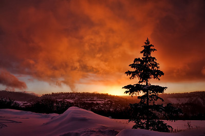 Winter sunset behind a snow covered mesa near Telluride, Colorado.
