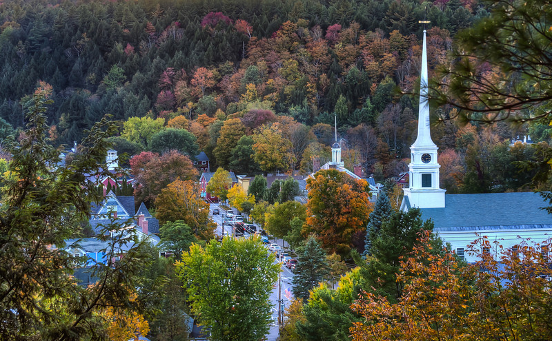 Main St, Stowe from Sunset Rock<br /> Stowe, VT