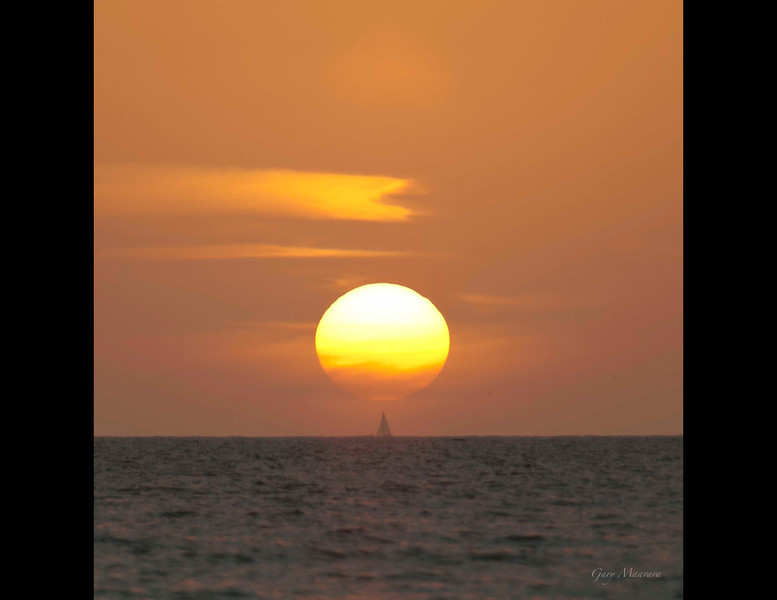 """""""How long do we need to balance this thing?""""<br /> <br /> Gulf of Mexico sunset."""
