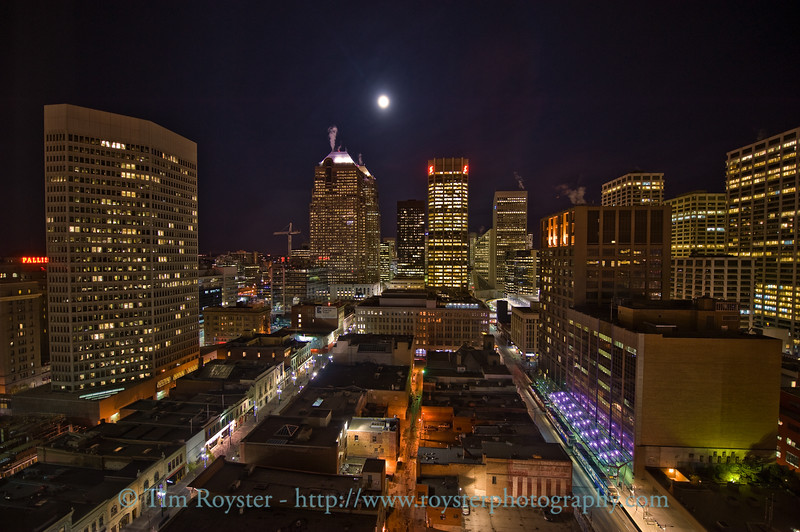 View of Calgary, Alberta from our room at the Hyatt Regency, 20th Floor during full moon.