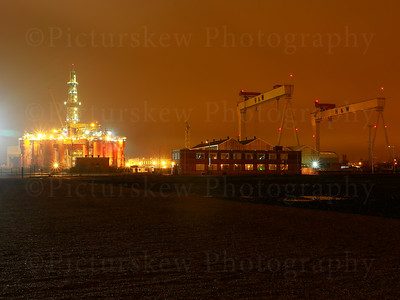 Harland & Wolff Cranes with the Blackford Dolphin Oil Rig