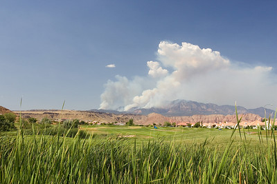 Reeds, golf coarse, and fire in the mountains. St. George, Utah