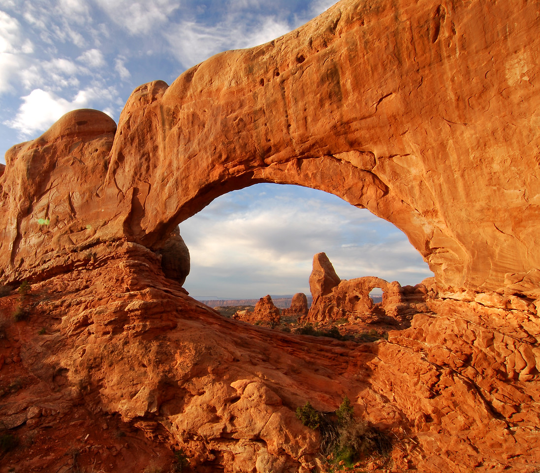 Turret Arch through North Window...Arches National Park, Utah.