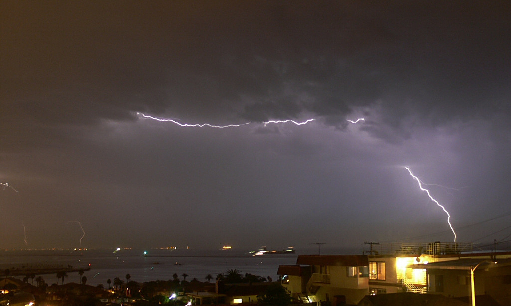 A Sky Etched with Lightning...Electrical storm over San Pedro Bay, Port of Los Angeles, CA, Oct 16 2005.