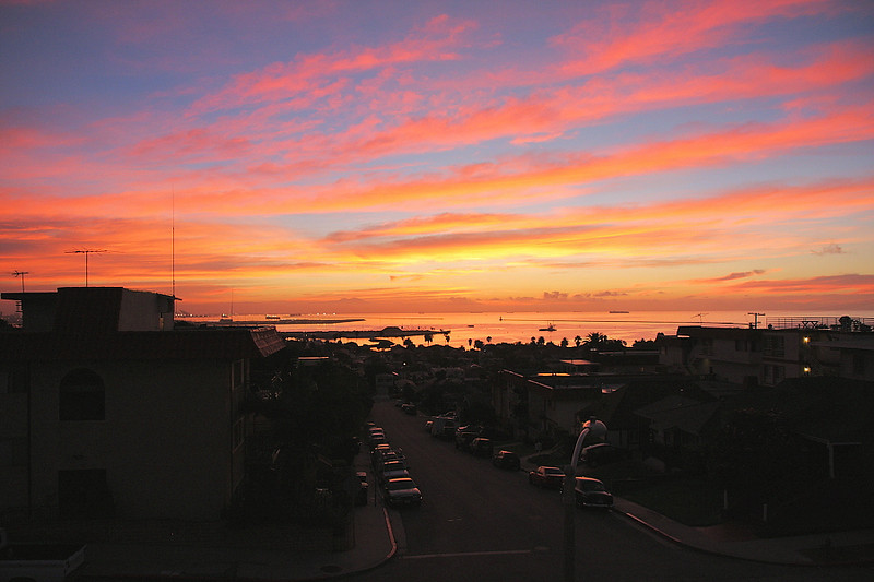 Sunrise from my condo balcony with Los Angeles Harbor and Saddleback Mountain in the background, October 24 2010.