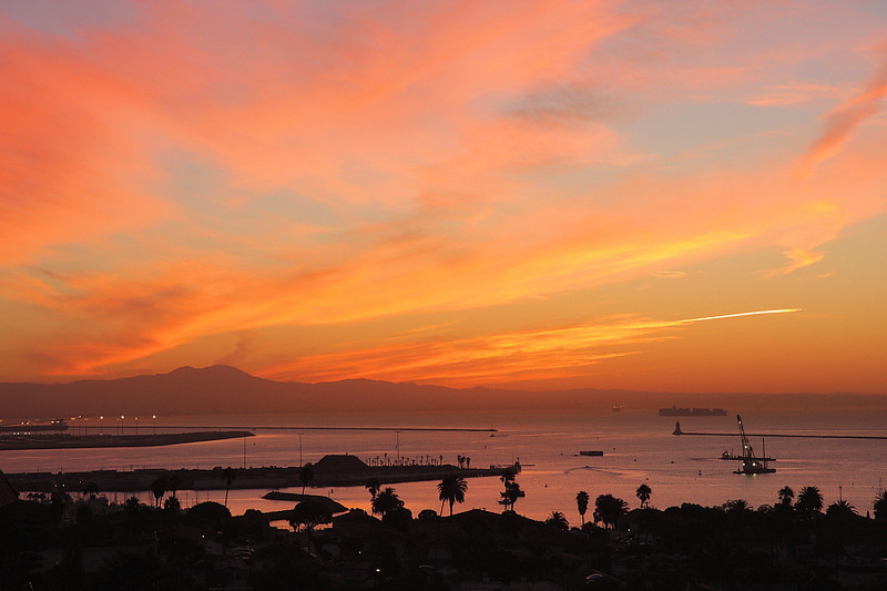 Sunrise over Los Angeles Harbor and the Southern California coast looking towards Saddleback Mountain, October 27 2010.