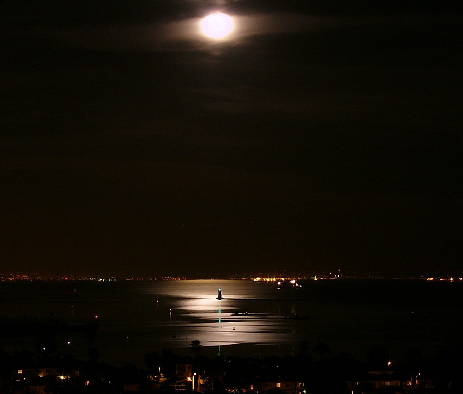 Full Moon, moonlight, and lighthouse, San Pedro, CA