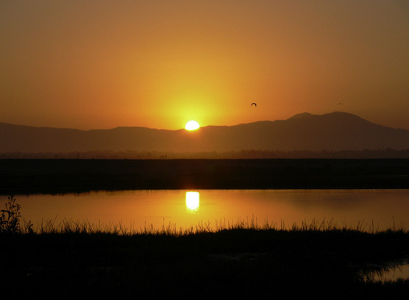Sunrise at Bolsa Chica Ecological Preserve, Huntington Beach, CA, Sept 4 2006 at 6:35am. The view looking east with Saddleback Mtn in the distance.