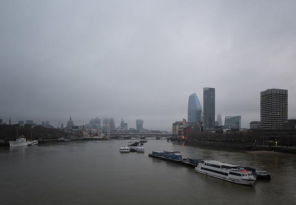 View from Waterloo Bridge, January