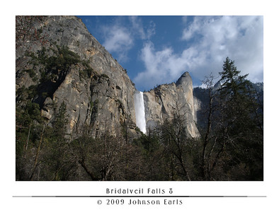 Bridalveil Falls 8  Bridalveil Falls and surrounding cliff walls, as seen from one of the pull-outs on the Southside Drive coming into the valley floor.  Even from here, farther away than even the Bridalveil Falls parking lot, you could still hear the roar of the falls.  Yosemite Valley, 28 April 2009.