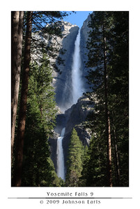 Yosemite Falls 9  The complete Yosemite Falls: upper, middle, and lower.  Taken from one of the walking trails leading to the base of the falls (apparently, one of the only points on the valley floor where you can see all three falls).  From this point, the waterfall was louder than most any other sound around.  No birdsong, no trees rustling, could be heard over it.  Talking was possible with a raised voice, but, as described in the next photo, even that soon became impossible.  Yosemite Valley, 30 April 2009.