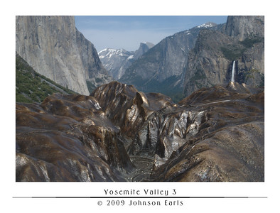 Yosemite Valley 3  Yosemite Valley, as seen from the Tunnel View Lookout, just as you enter the valley on Highway 41 through the Wawona Tunnel.  This photo was taken looking across the bronze miniature of the valley that sits at the lookout observation area, trying to match the miniature view to the real view.  Yosemite Valley, 29 April 2009.