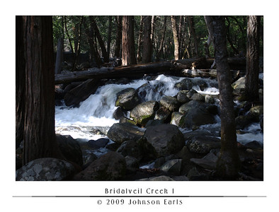 Bridalveil Creek 1  The rushing Bridalveil Creek, just down from the foot of Bridalveil Falls.  This was as close as I could get to the base of Bridalveil Falls with my camera; any closer and the mist from the falls was more like rain, to which I didn't want to expose my camera.  Yosemite Valley, 28 April 2009.