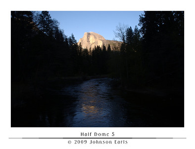 Half Dome 5  Half Dome, as seen at sunset from Sentinal Bridge in Yosemite Village.  Yosemite Valley, 29 April 2009.