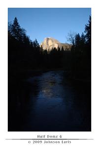 Half Dome 6  Half Dome, as seen at sunset from Sentinal Bridge in Yosemite Village.  Yosemite Valley, 29 April 2009.