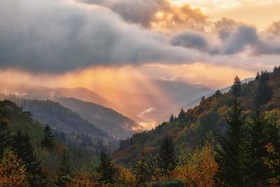 Sunrise over Oconaluftee River Valley