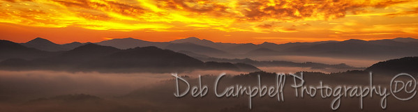 Sunrise on Foothills Parkway West Panorama Great Smoky Mountains Blount County, Tennessee
