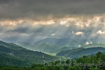 Sunbeams raining on the Smokies