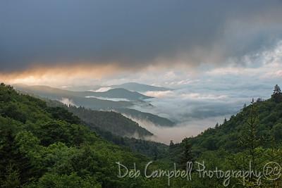 Early morning smoke at  Oconoluftee Overlook Great Smoky Mountains Natonal Park
