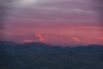 Snow Covered Gregory Bald at Sunset
