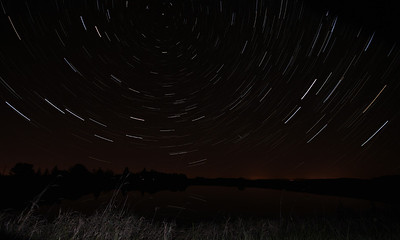 Star Trails over La Feredie Lake