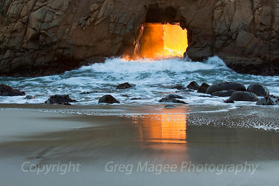 The surge   High tide at Pfeiffer Beach in late December brought this colorful and powerful surge of ocean water into view.