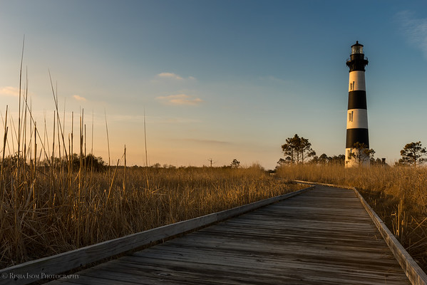 Bodie Island Lighthouse at sunrise.