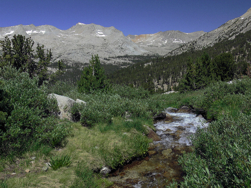 Upper Basin and a feeder stream of the Kings River on the trail to Taboose Pass.