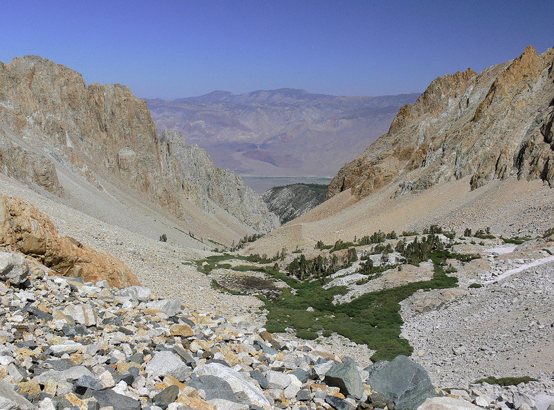 The view down Taboose Canyon from Taboose Pass with the White Mtns, home to the Bristlecone Pines, on the other side of the Owens Valley.