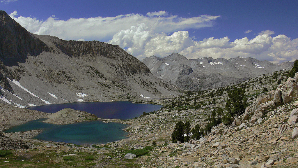 The view looking northwest towards Cirque Crest and blue-tinged Marjorie Lake just below Pinchot Pass.