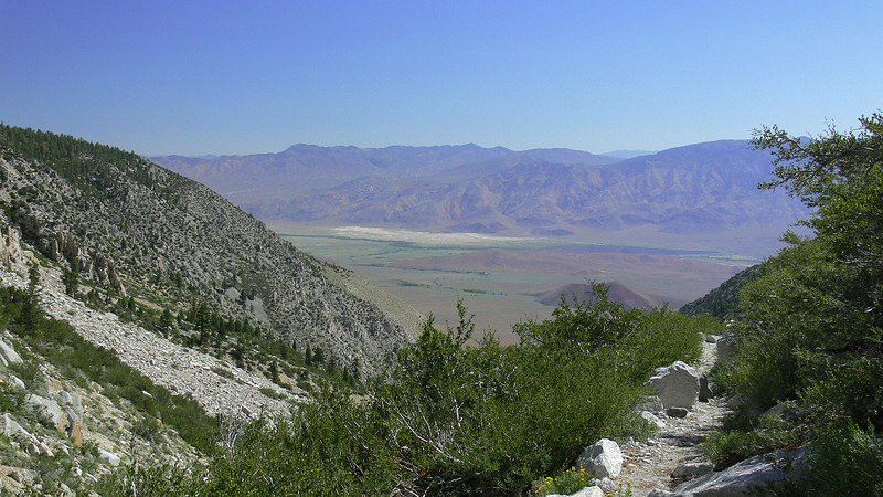 The Owens Valley and White Mountains from Taboose Canyon trail.