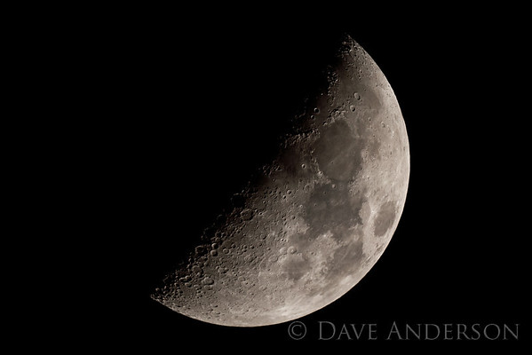 Moon shot with Orion XT8 Dobsonian reflector at prime focus(1200mm f/5.9) - Cropped to about 50% size