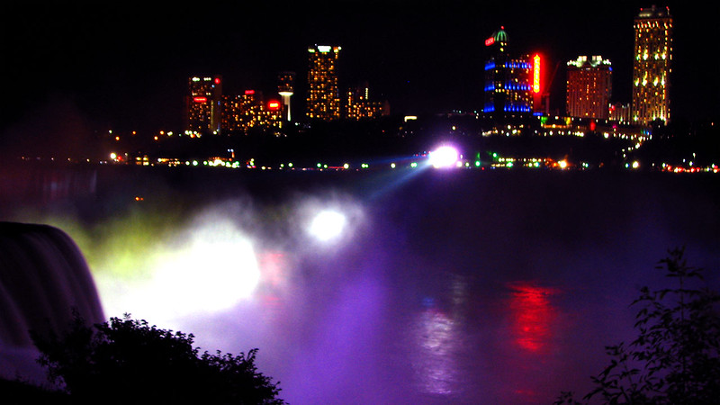 Night lights from Canada side on Niagra Falls