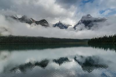 Low Lying Cloud Reflection Emerald Lake, Yoho National Park British Columbia, Canada © 2014