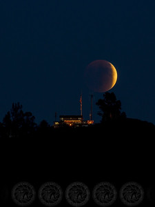 Lunar Eclipse over the VFW Hall Alpine, CA  Sept 2015