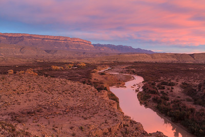 Winter pastels over the Rio Grande.  Here, the view is easterly with the Boquillas Canyon entrance visible in the background, Rio Grande Village among the Cottonwoods and Boquillas, Mexico directly across the Rio Grande.
