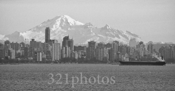 Vancouver from Lighthouse Park, with Mount Baker