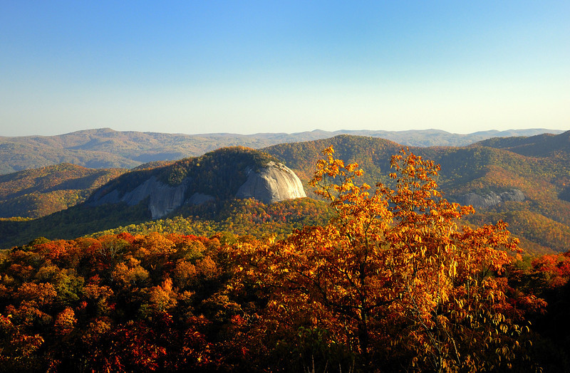 Autum colors add to the beauty of Looking Glass Rock in Pisgah National Forest.