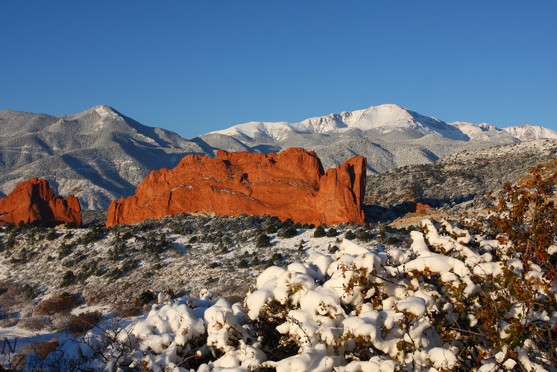 Fresh blanket of snow on the Front Range. Garden of the Gods, Colorado Springs, Colorado. October 27 2011