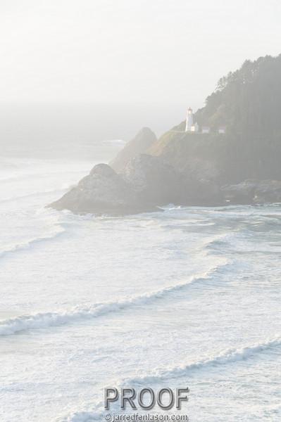 The Heceta Lighthouse Shines Through the Morning Fog
