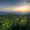 This is a 6 exposure HDR from the sunset taken from the 'Siegesturm' near Bayreuth.