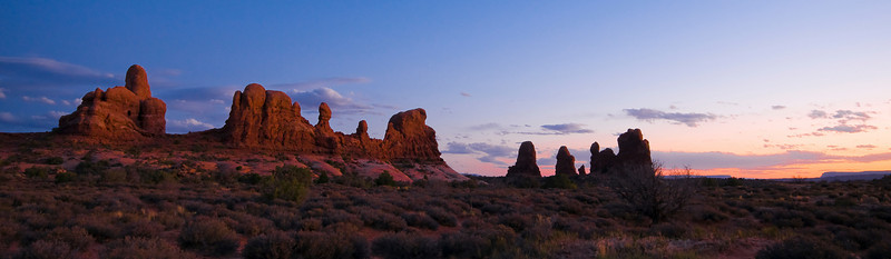 The Needles area of Arches National Park make for a wonderfull sunset shot.