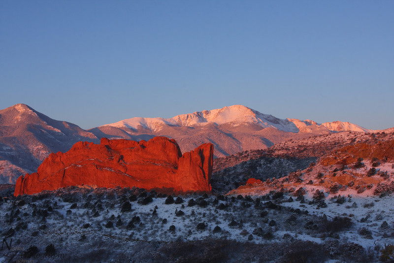 Fresh blanket of snow on Pikes Peak from Garden of the Gods taken durning sunrise, Colorado Springs, Colorado. October 27 2011
