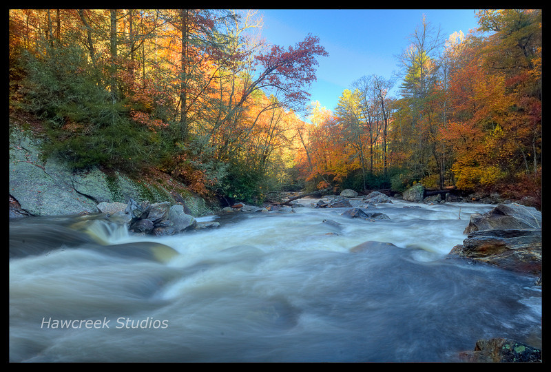 Fall on the Cullasaja river in Macon County, NC