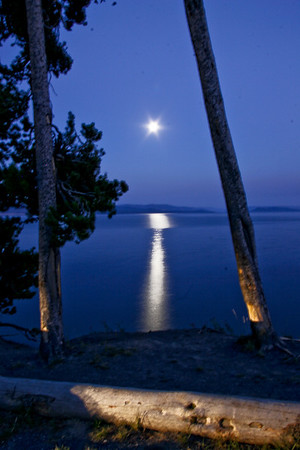 Yellowstone Lake Moon Rise, August 2007