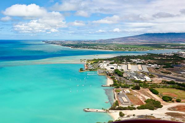 Aerial view of Honolulu coastlne